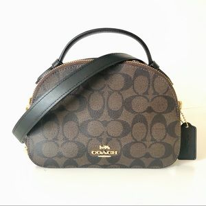 Coach Serena Satchel Top Handle Brown Logo Purse